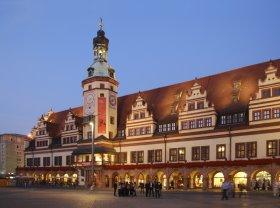 Bild: Altes Rathaus Leipzig am Abend