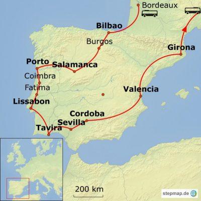 Reiseroute Portugal