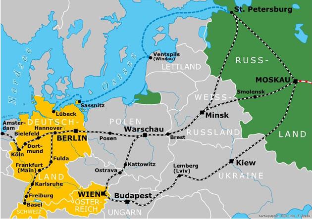 Bild: Karte Westeuropa bis Moskau