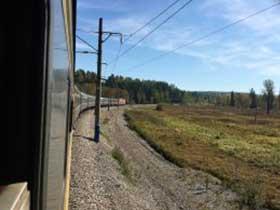 Ausblick aus dem Fenster des Linienzuges auf der Transsibierischen Eisenbahn. Foto:Joos Hahn