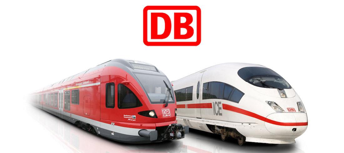 ICE und regiozüge der DB mit Logo. Offizielles Affiliatebild voon der deutschen Bahn.