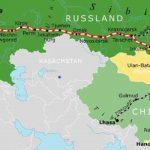 Landkarte mit dem Streckenverlauf der Transsibirischen Eisenbahn