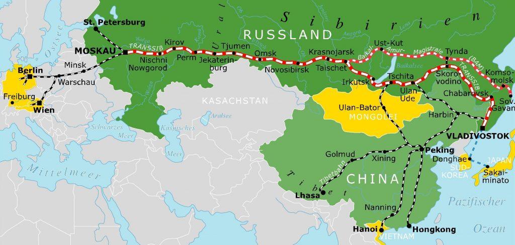 Streckenverlauf der Transsib
