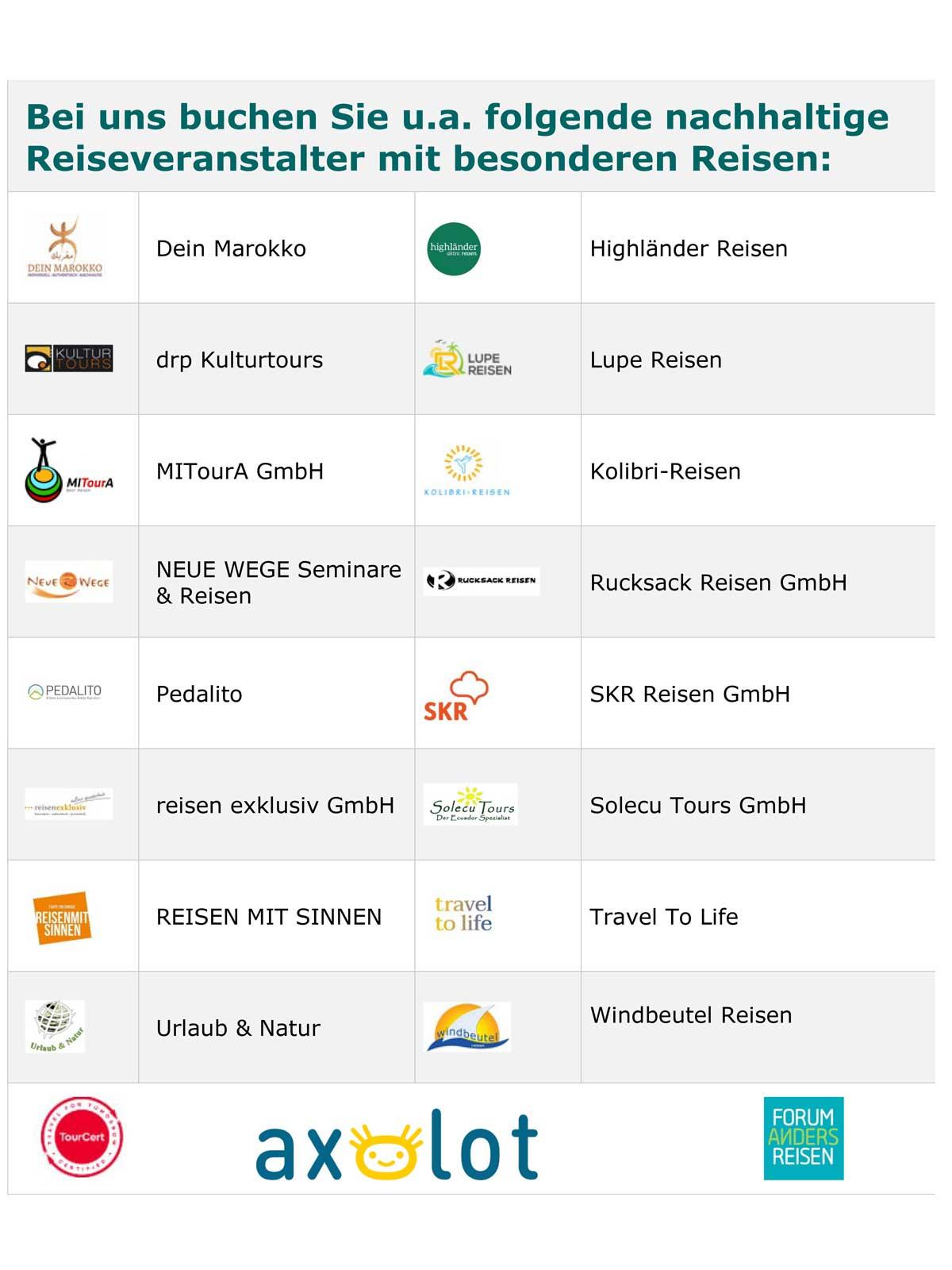 seite 2 der Liste von nachhaltigen Reiseveranstalternlatern