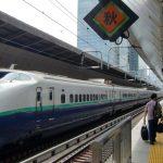 Mit dem Japan-Railpass im Schnellzug Schinkhansen. Ansicht im Bahnhof