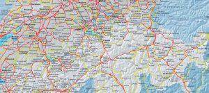 Schweizkarte mit Zug-Streckennetz der SBB und der Rhätischen Bahn