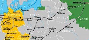Gleisnost-Karte mit Zugverlauf-Westeuropa-Russland