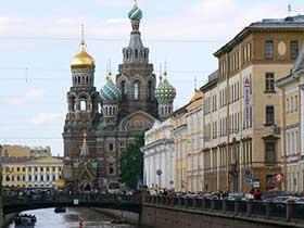 St.Petersburg. Sicht vom Kanal Gribojedova auf die Auferstehungskirche am Newskij Prospekt.