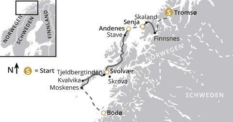 Streckenverlauf der Wanderreise von Tromso nach Bodo