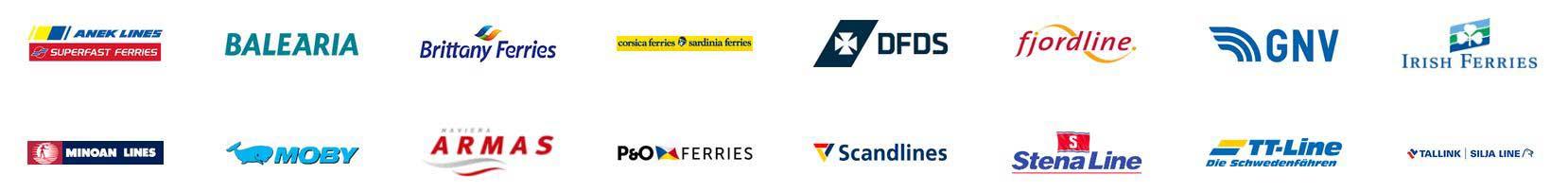 Bild mit Logos von Reedereien, die über den folgenden Affiliatelink von direct Ferries gebucht werden können