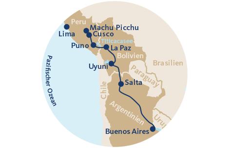 11Landkarte mit Reiseverlauf Anden-Zug-Rundreise Ameropa