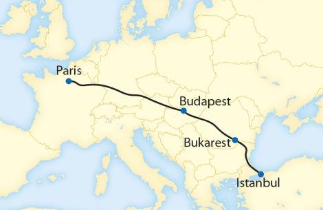 11Route der 6 Tages Reise von paris nach Istanbul im Orientexpress